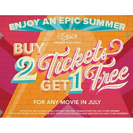 Buy 2 Get 1 Free Any Movie Tickets