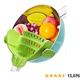Silicone Clip On Strainer, Patented Clip On Silicone Colander, Clip-on Kitchen Food Strainer for Pasta, Ground Beef Grease, Fits Almost Pots (Green)