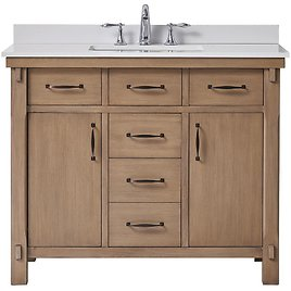 Home Decorators Collection Bellington 42 In. W X 22 In. D Vanity in Almond Toffee with Marble Vanity Top in White with White Sink-Bellington 42