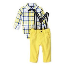 Baby Boys Dad And Me Long Sleeve Plaid Poplin Button Down Bodysuit Woven Chino Pants Bow Tie And Suspenders Matching Outfit Set