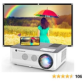 1080P Projector, FANGOR 2021 WiFi Projector Bluetooth Support, 7500 Lux Movie Projector 4K Video Support, Home Projector Compatible with TV Stick, HDMI, USB, VGA, IOS/Android [120''Screen Included]