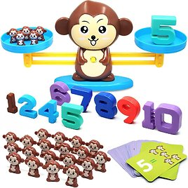 Monkey Balance Cool Math Game STEM Preschool Learning Counting Toys for 3+ Year Olds Math Manipulatives First Grade Children Kids Kindergarten Board Game (64 PCS)