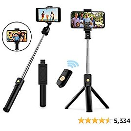 Selfie Stick Tripod, Extendable Bluetooth Selfie Stick with Wireless Remote, Compatible with IPhone 11/11 Pro/X/8/8P/7/7P/6s/6, Samsung Galaxy S9/S8/S7/Note 9/8, Huawei and More (Black)