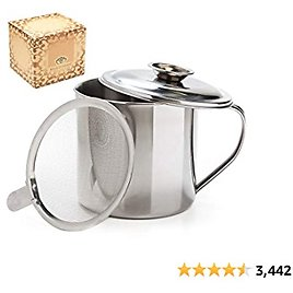 Aulett Home Bacon Grease Container With Strainer - Best For Storing Fats for Keto and Paleo, Cooking Oil and Drippings - 1.25 Quart Or 5 Cups Stainless Steel Grease Keeper