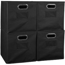 Regency Collapsible Home Storage Set of 4 Foldable Fabric Storage Bins - Mult. Colors