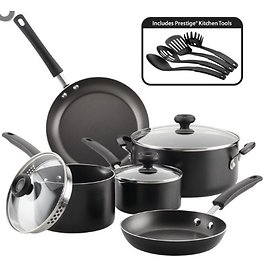 Farberware 12-Piece Easy Clean Nonstick Pots and Pans/Cookware Set, Black