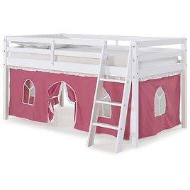 Roxy Twin Junior Loft Bed with Pink and White Tent