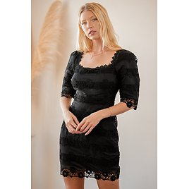 Story of Love Black Lace Square Neck Bodycon Dress