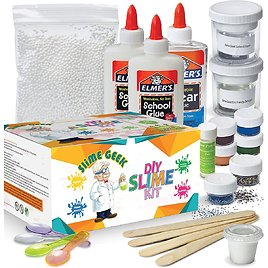 Slime Geek DIY Elmer's Glue Slime Kit -How to Make Slime , Make Glow-in-The Dark, Clear and Glitter Slime - Comes with Airtight Containers for Slime Storage - Comes with Recipes and Bonus E-Book