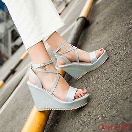 Chic Womens Summer Open Toe High Wedge Heels Cross Ankle Strap Sandals Shoes