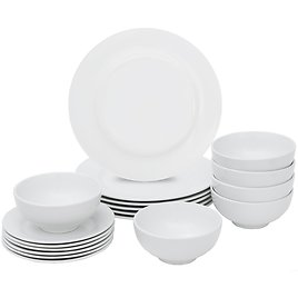 18 Pieces Dinner Plates & Bowls Set Home Kitchen Dinnerware Service for 6 Person