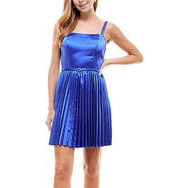 Juniors' Belted Pleated Fit & Flare Dress