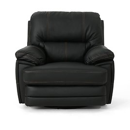 Noble House Elodie 40 In. Width Big and Tall Black Faux Leather Power Reclining Wall Hugger Recliner-42126