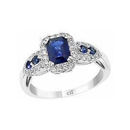 Effy® 1/3 Ct. T.w. Diamond and 1.25 Ct. T.w. Sapphire Ring in 14K White Gold