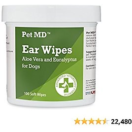 Pet MD - Dog Ear Cleaner Wipes - Otic Cleanser for Dogs to Stop Ear Itching, and Infections with Aloe and Eucalyptus - 100 Count
