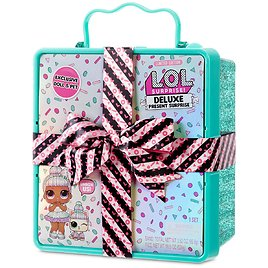 LOL Surprise Deluxe Present Surprise (Teal) with Limited Edition Sprinkles Doll and Pet In Party Gift Box