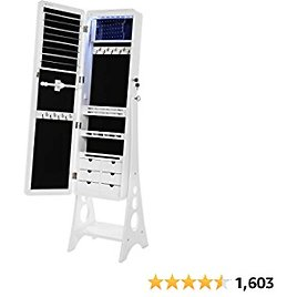 SONGMICS Jewelry Cabinet with LED Lights and Mirror, Lockable Standing Armoire Organizer, White