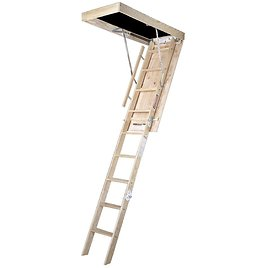WERNER 10 Ft., 25 In. X 54 In. Wood Attic Ladder with 250 Lb. Maximum Load Capacity