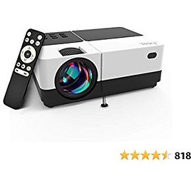 HD Projector Outdoor Movie Projector with Best 84-LED Projection Technology, Dolby Sound, 1080P and 170'' Display Supported, 50,000 Hrs LED Lamp Life