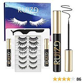 Magnetic Eyelashes with Eyeliner, 7 Pairs Reusable Natural Look Magnetic Lashes, 3D Magnetic Eyeliner for Magnetic Lashes Set with 2 Tubes of Eyeliner & Tweezers, Easy to Apply & Remove - No Glue