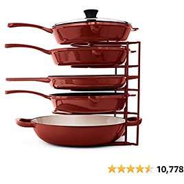 15% Off Pan Organizer for Cast Iron Skillets, Griddles and Pots - Heavy Duty Pan Rack - Holds Up to 50 LBS- Horizontal or Vertic