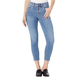 """Madewell 9"""" High-Rise Skinny Crop Button Front in Dewey Wash"""