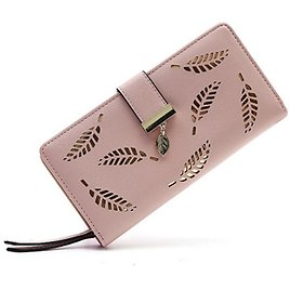 Women's Bags PU Leather Wallet Hollow-out Floral Print Holiday Pink Black Blue Khaki