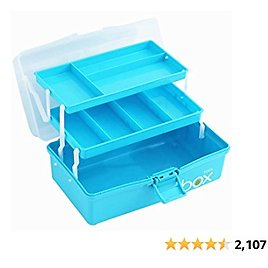 Sunxenze 12'' Three-Layer Clear Plastic Storage Box/Tool Box/Sewing Box Organizer, Multipurpose Organizer and Portable Handled Storage Case for Art Craft and Cosmetic (Light Blue)