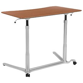 Carnegy Avenue 37.4 In. Rectangular Cherry/Silver Standing Desks with Adjustable Height-CGA-NAN-270344-CH-HD