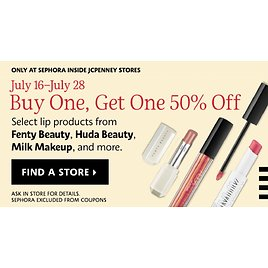 In-Store Only! BOGO 50% Off Lip Products - Sephora