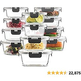 24-Piece Superior Glass Food Storage Containers Set - Newly Innovated Hinged BPA-free Locking Lids - 100% Leakproof Glass Meal-P