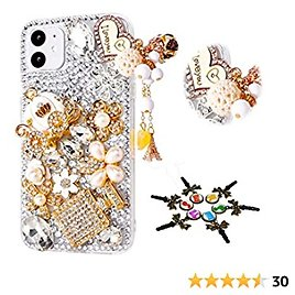 STENES Sparkle Phone Case Compatible with Samsung Galaxy A12 Case - Stylish - 3D Handmade Bling Heart Peadant Pumpkin Car Bottle Flowers Rhinestone Crystal Diamond Design Cover Case - White