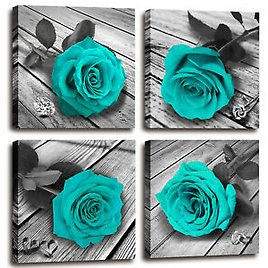 Teal Wall Art Rose Canvas Prints Teal and Gery Wall Art for Bathroom Bedroom