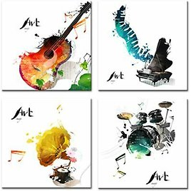 Canvas Wall Art Music Theme Guitar Picture Painting Bedroom Room Living Decor