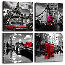 London Red Bus Picture Print Paris Canvas Wall Art for Bedroom Living Room Decor
