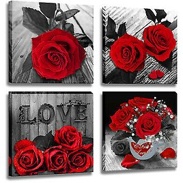 Red Rose Painting Black And White Canvas Wall Art Flower Picture for Bedroom