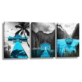 Blue Boat Canvas Wall Art Landscape Lake Paintings for Bedroom Living Room Decor