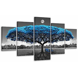 5 Piece Wall Art Blue Tree Paintings Gray and Blue Pictures for Living Room Gift