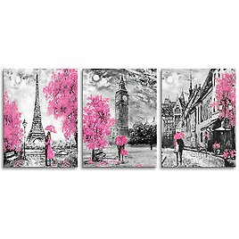 Eiffel Tower Canvas Prints Pink Wall Art Cityscape Pictures for Bedroom Decor