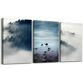 Abstract Forest Canvas Wall Art Landscape Wall Paintings for Bedroom Bathrooms