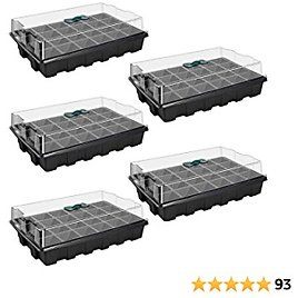 5 Pack 120-cell Seed Starter Tray Kit, ANGTUO Plant Germination Starter Kit Growing Trays with Humidity Dome and Base for Greenhouse Grow Wheatgrass Hydroponic(24 Cells Per Tray)