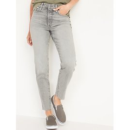 High-Waisted O.G. Straight Button-Fly Cut-Off Jeans