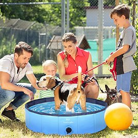 XL Dog Kiddie Pool 65% OFF SALE - 100% PVC Slip-Resistant 63'' Foldable OutdoorPools with Bath Brush for Dogs Cats and Kids