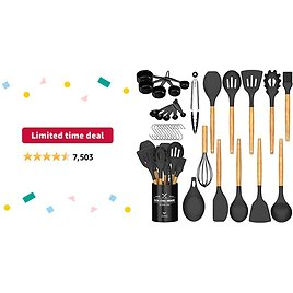 Limited-time Deal: Umite Chef Kitchen Cooking Utensils Set, 24 Pcs Non-stick Silicone Cooking Kitchen Utensils Spatula Set with Holder, Wooden Handle Silicone Kitchen Gadgets Utensil Set (Black Gray)