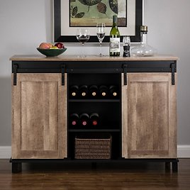 Glitzhome 47.20 In. L Modern Industrial Black Wine Cabinet with with Natural Top and Sliding Doors-2008600006