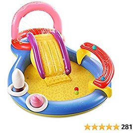 """Inflatable Play Center, Hesung 115"""" X 70"""" X 44"""" Full-Sized Kiddie Pool with Slide, Fountain Arch, Ball Roller for Toddler, Kids, Baby, Thick Wear-Resistant Big Above Ground, Garden Backyard Water Park"""
