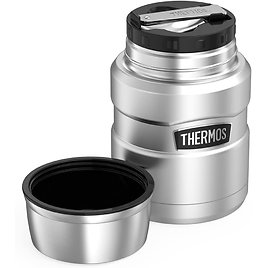 THERMOS Stainless King Vacuum-Insulated Food Jar with Spoon, 16 Ounce, Matte Steel