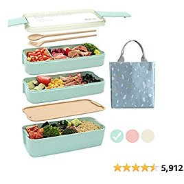 Ozazuco Bento Box Japanese Lunch Box,3-In-1 Compartment - Wheat Straw, Leakproof Eco-Friendly Bento Lunch Box Meal Prep Containers for Kids & Adults