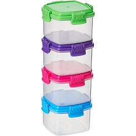 Sistema To Go Collection Mini Knick Knack Snack Container, 2.09 Oz./62 ML, Pink/Green/Blue/Purple, 4 Count