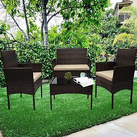 4-Piece Outdoor Patio Furniture Set with Chair, Sofa, Table and Cushion for Only $208.99